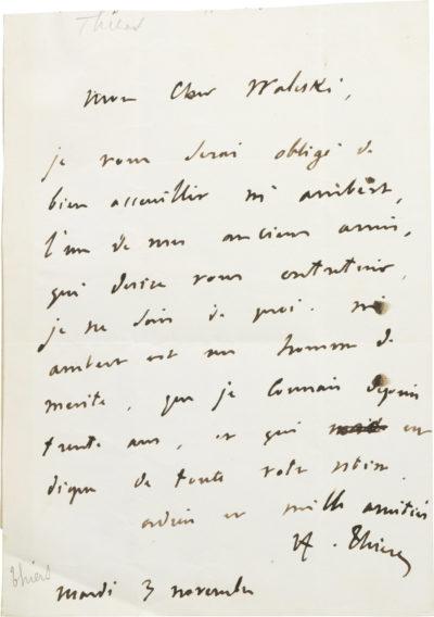 Lettre d'Adolphe Thiers à Alexandre I Walewski - Patrimoine Charles-André COLONNA WALEWSKI, en ligne directe de Napoléon