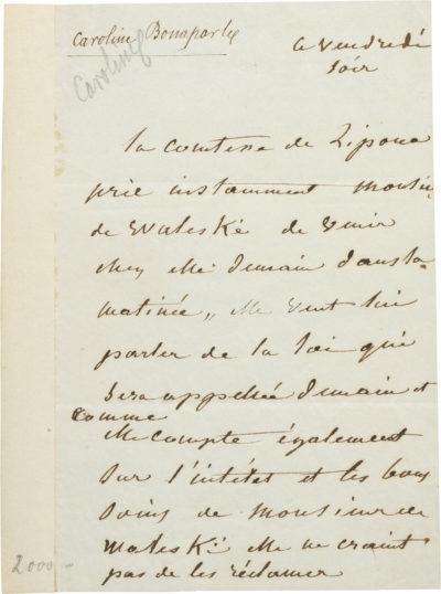 Lettre de Caroline Bonaparte à Alexandre I Walewski. - Patrimoine Charles-André COLONNA WALEWSKI, en ligne directe de Napoléon