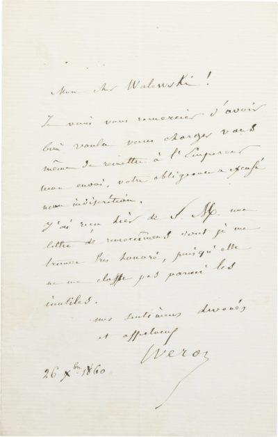 Lettre du Dr Véron à Alexandre I Walewski - Patrimoine Charles-André COLONNA WALEWSKI, en ligne directe de Napoléon