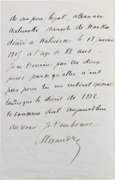 Lettre d'Alexandre II Walewski à Charles Walewski - Patrimoine Charles-André COLONNA WALEWSKI, en ligne directe de Napoléon