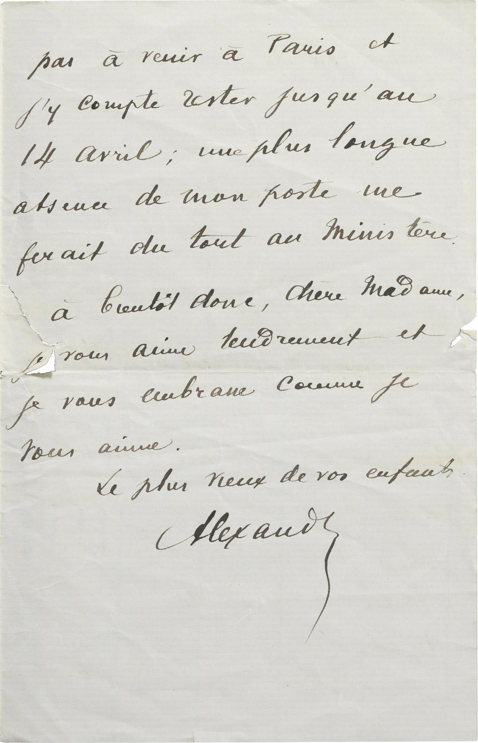 Lettre d'Alexandre II Walewski à la comtesse Walewska - Patrimoine Charles-André COLONNA WALEWSKI, en ligne directe de Napoléon