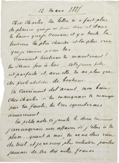 Lettre d'Alexandre Walewski II à Charles Walewski - Patrimoine Charles-André COLONNA WALEWSKI, en ligne directe de Napoléon