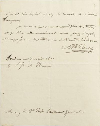 Lettre d'Alexandre Walewski I au comte Petit - Patrimoine Charles-André COLONNA WALEWSKI, en ligne directe de Napoléon