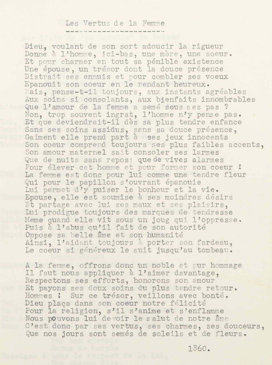 """""""Les vertus de la femme"""", poésie d'Alexandre II Walewski - Patrimoine Charles-André COLONNA WALEWSKI, en ligne directe de Napoléon"""