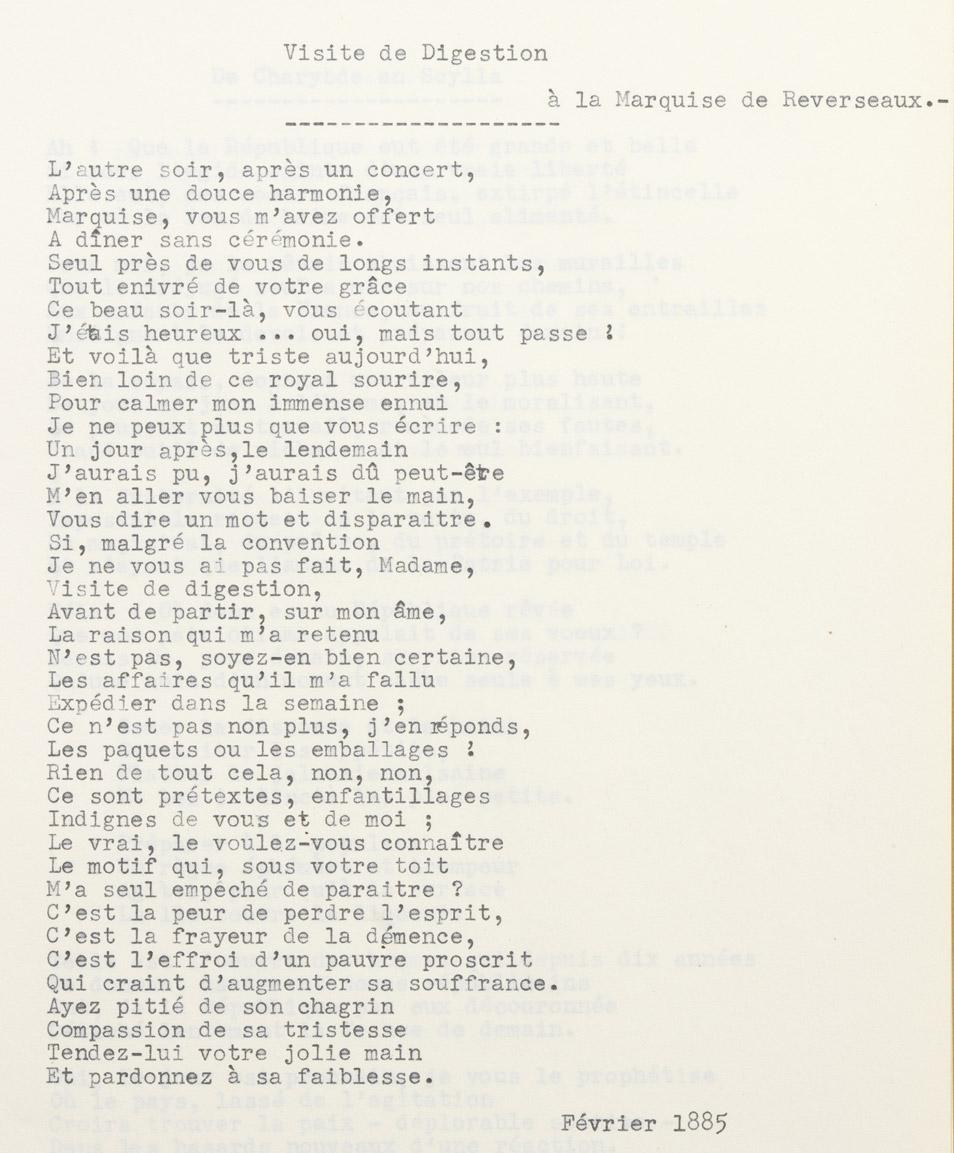 """""""Visite de digestion"""", poésie d'Alexandre II Walewski - Patrimoine Charles-André COLONNA WALEWSKI, en ligne directe de Napoléon"""
