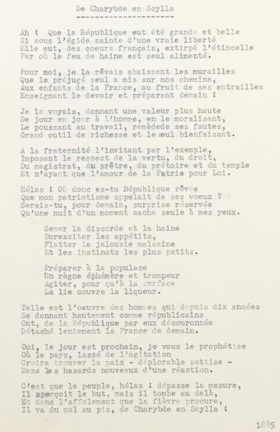 """De Charybde en Scylla"", poésie d'Alexandre II Walewski - Patrimoine Charles-André COLONNA WALEWSKI, en ligne directe de Napoléon"