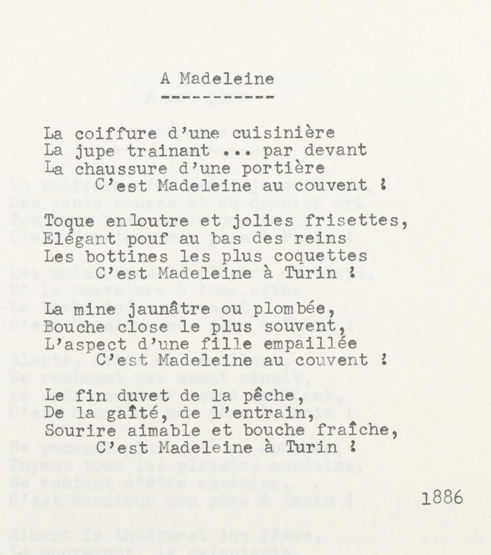 """A Madeleine"", poésie d'Alexandre II Walewski - Patrimoine Charles-André COLONNA WALEWSKI, en ligne directe de Napoléon"