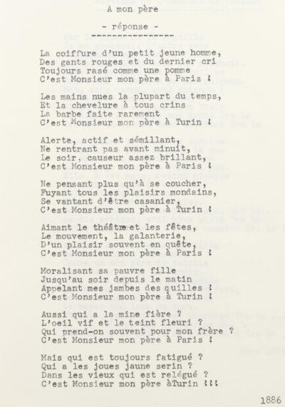 """""""A mon père"""", poésie d'Alexandre II Walewski - Patrimoine Charles-André COLONNA WALEWSKI, en ligne directe de Napoléon"""