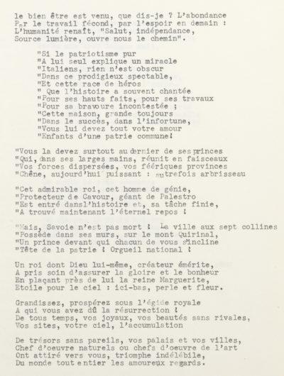 """""""Ode à l'Italie"""", poésie d'Alexandre II Walewski - Patrimoine Charles-André COLONNA WALEWSKI, en ligne directe de Napoléon"""