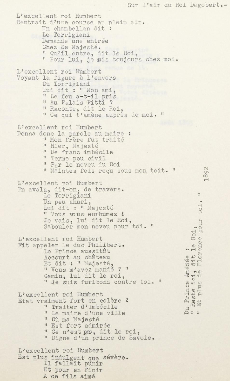 """""""L'excellent roi Humbert"""", chanson d'Alexandre II Walewski - Patrimoine Charles-André COLONNA WALEWSKI, en ligne directe de Napoléon"""
