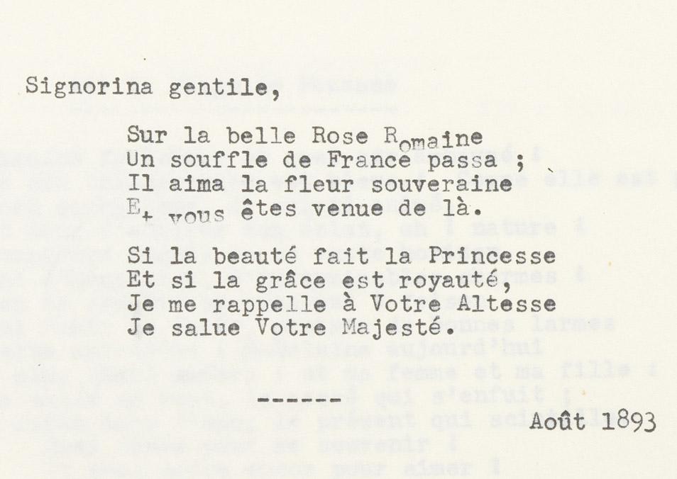 """""""Signorina gentile"""", poésie d'Alexandre II Walewski - Patrimoine Charles-André COLONNA WALEWSKI, en ligne directe de Napoléon"""