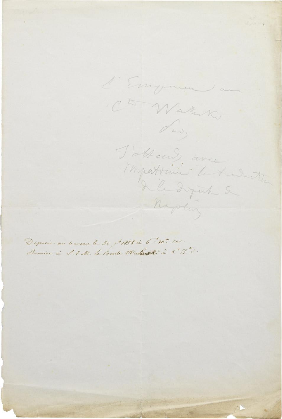 Dépêche de Napoléon III à Alexandre Walewski I - Patrimoine Charles-André COLONNA WALEWSKI, en ligne directe de Napoléon