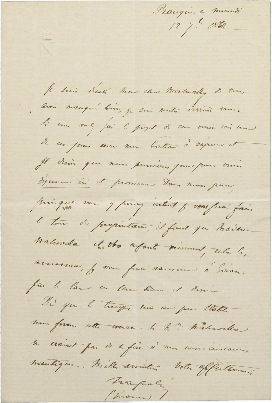 Lettre du prince Napoléon (Jérôme) au comte Walewski - Patrimoine Charles-André COLONNA WALEWSKI, en ligne directe de Napoléon