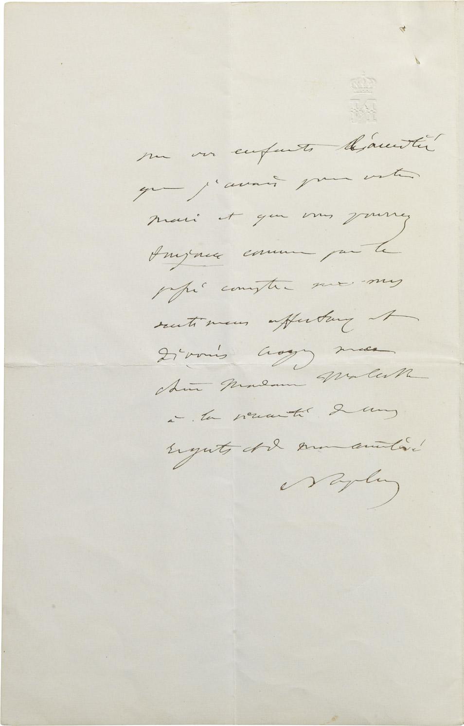 Lettre de Napoléon III à la comtesse Walewska née Ricci - Patrimoine Charles-André COLONNA WALEWSKI, en ligne directe de Napoléon