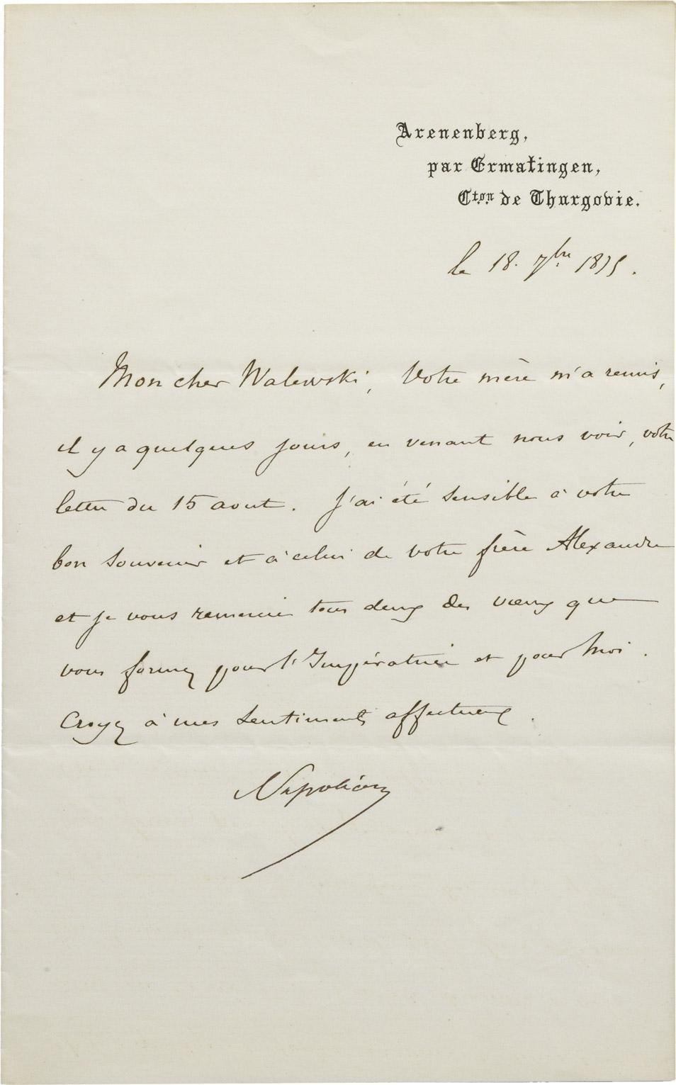 Lettre du Prince Impérial à Charles Walewski - Patrimoine Charles-André COLONNA WALEWSKI, en ligne directe de Napoléon