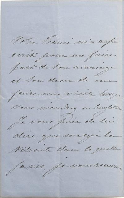 Lettre de l'impératrice Eugénie à Félicie Douay - Patrimoine Charles-André COLONNA WALEWSKI, en ligne directe de Napoléon