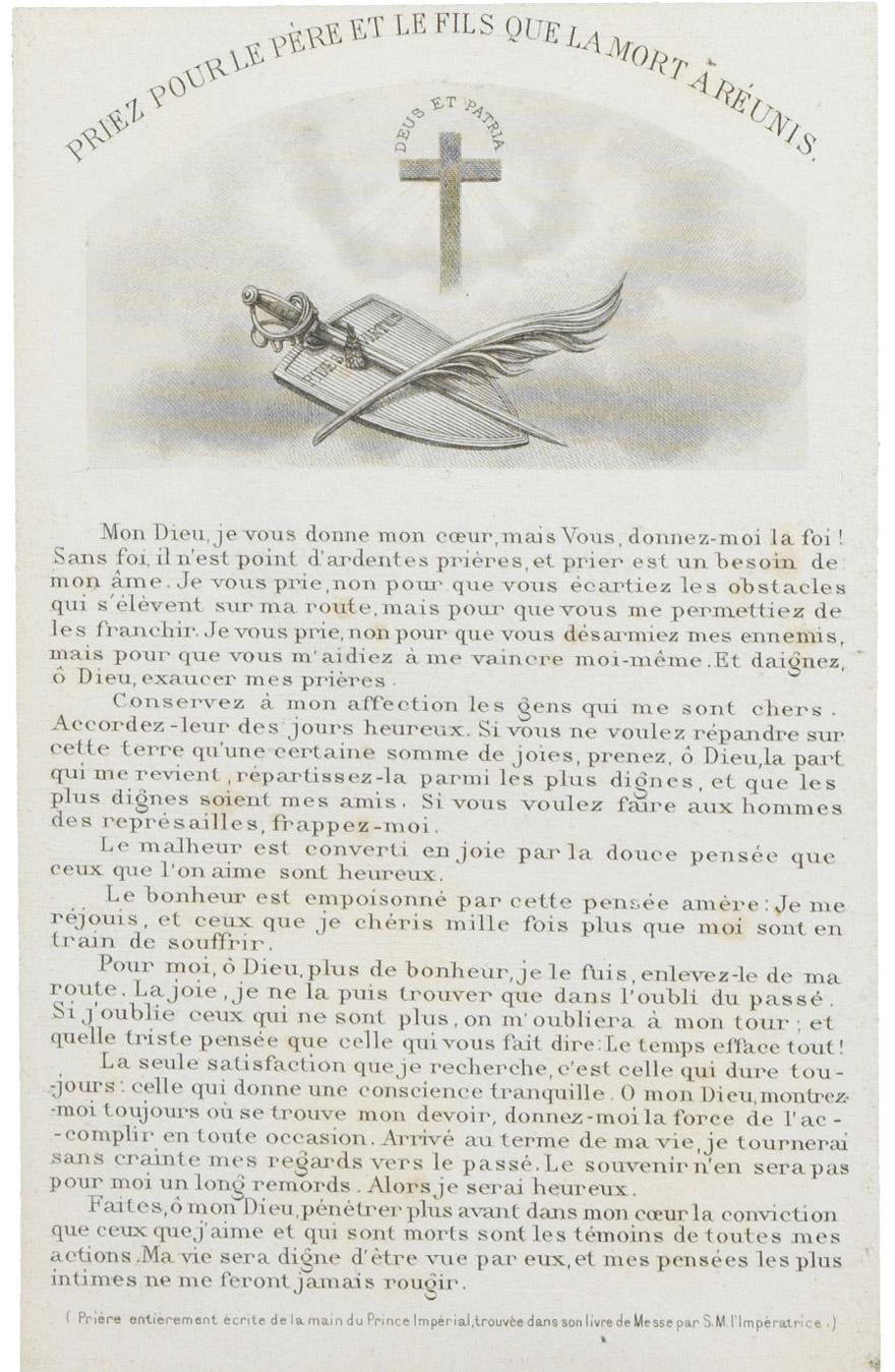 Lettre d'Eugénie avec souvenir du Prince impérial - Patrimoine Charles-André COLONNA WALEWSKI, en ligne directe de Napoléon