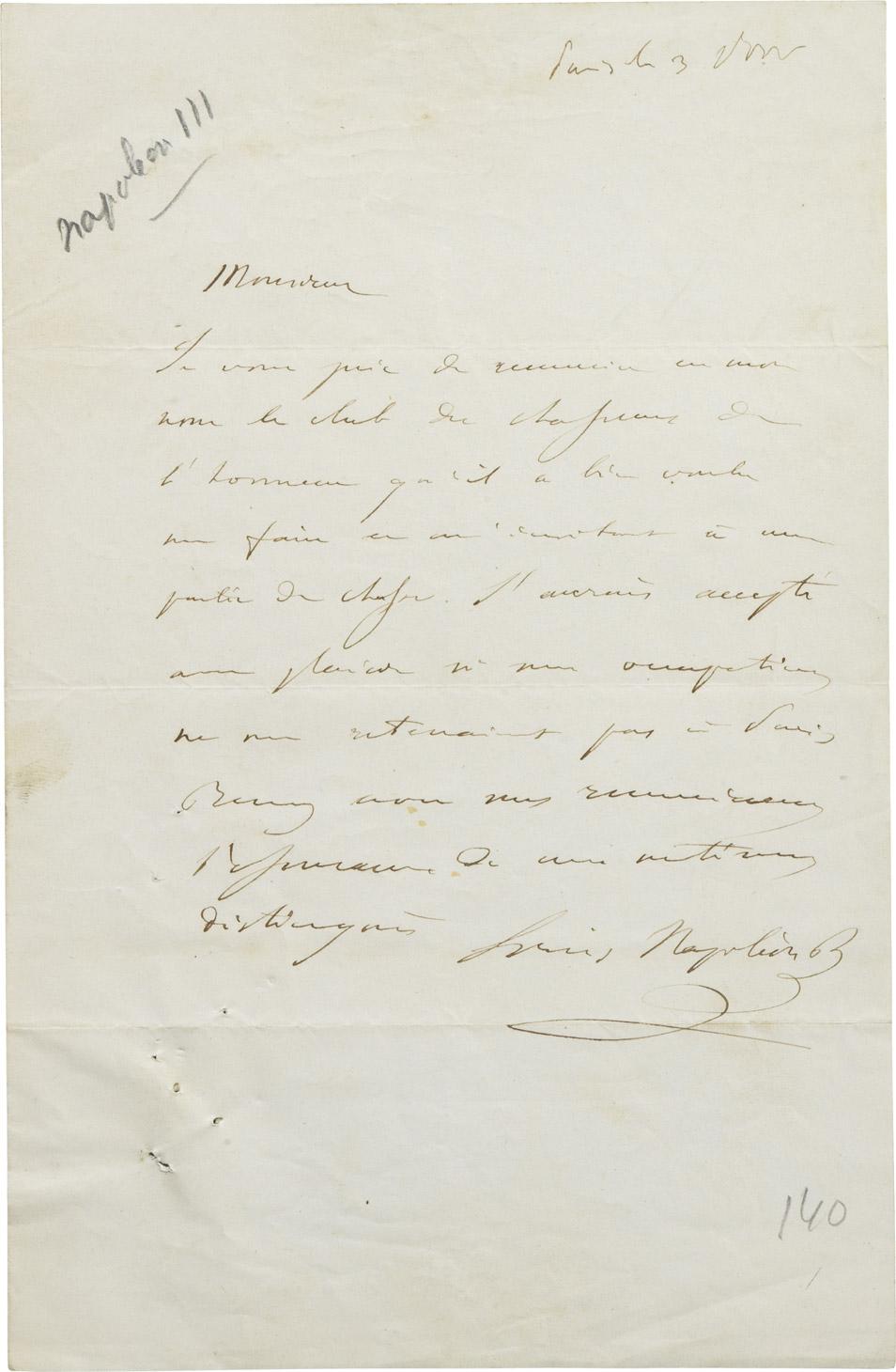 Lettre de Napoléon III - Patrimoine Charles-André COLONNA WALEWSKI, en ligne directe de Napoléon