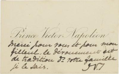 Carte autographe signée de Victor Napoléon - Patrimoine Charles-André COLONNA WALEWSKI, en ligne directe de Napoléon