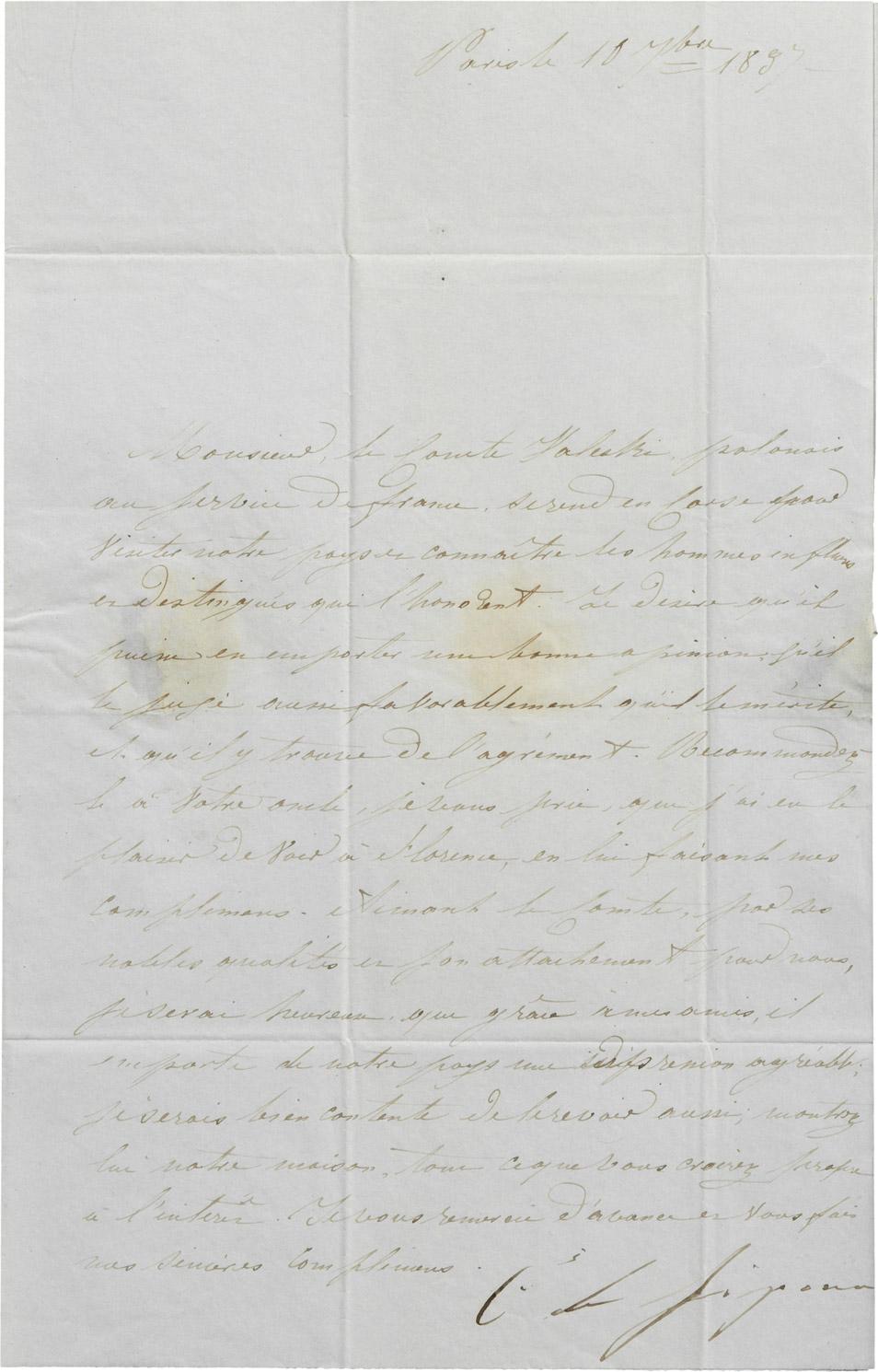 Sept Lettres de Caroline Bonaparte - Patrimoine Charles-André COLONNA WALEWSKI, en ligne directe de Napoléon