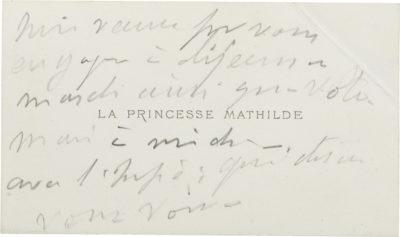 Carte de visite de la princesse Mathilde - Patrimoine Charles-André COLONNA WALEWSKI, en ligne directe de Napoléon