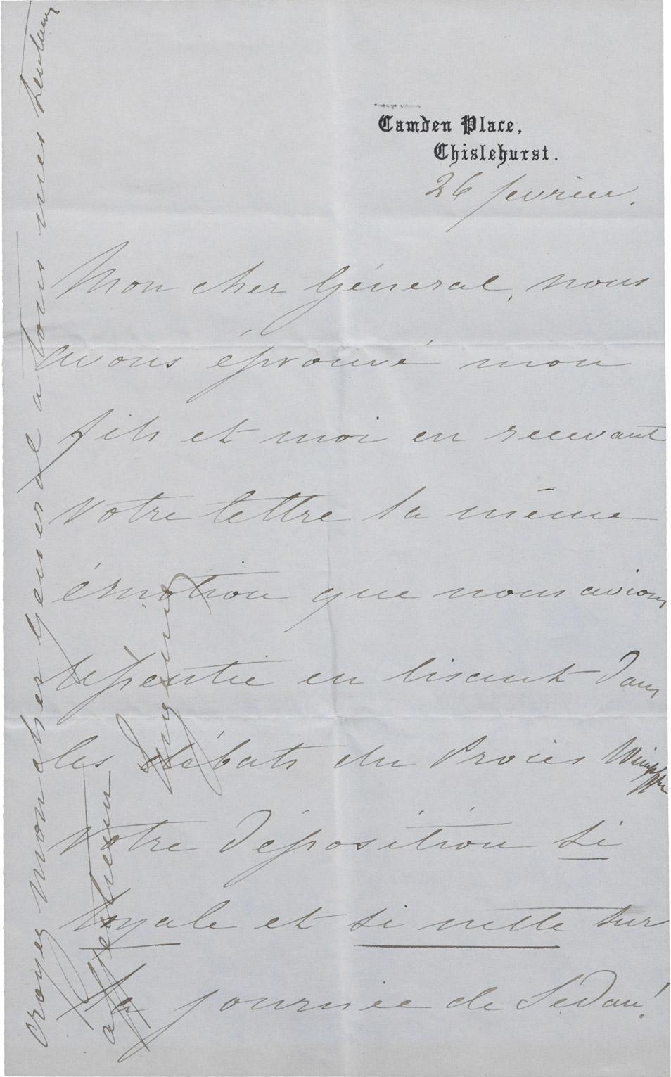 Lettre de l'impératrice Eugénie - Patrimoine Charles-André COLONNA WALEWSKI, en ligne directe de Napoléon