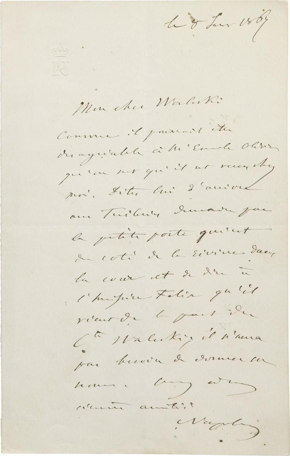 Lettre de Napoléon III à Alexandre I Walewski - Patrimoine Charles-André COLONNA WALEWSKI, en ligne directe de Napoléon