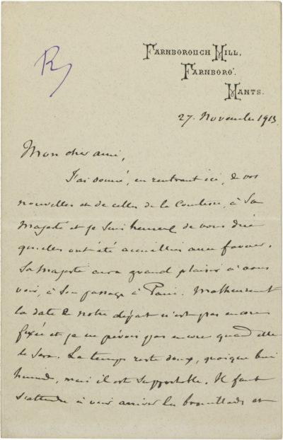 Lettre autographe signée, de Farnborough Hill - Patrimoine Charles-André COLONNA WALEWSKI, en ligne directe de Napoléon