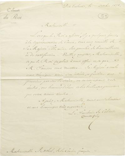 Lettre du roi Louis-Philippe à Rachel - Patrimoine Charles-André COLONNA WALEWSKI, en ligne directe de Napoléon