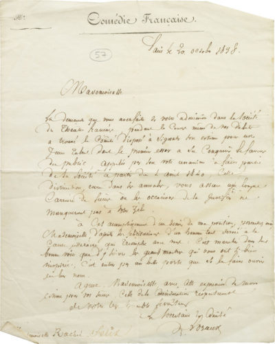 Lettre de la Comédie Française à Rachel - Patrimoine Charles-André COLONNA WALEWSKI, en ligne directe de Napoléon