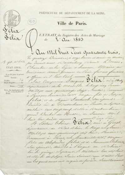 Acte de mariage des parents de Rachel - Patrimoine Charles-André COLONNA WALEWSKI, en ligne directe de Napoléon