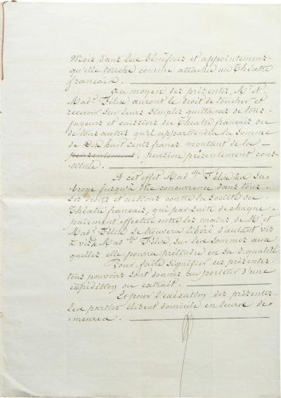 Pension alimentaire de Rachel pour ses parents - Patrimoine Charles-André COLONNA WALEWSKI, en ligne directe de Napoléon