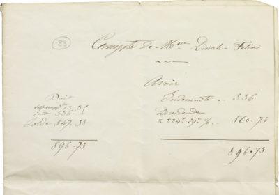 Comptes de Dinah, la soeur de Rachel - Patrimoine Charles-André COLONNA WALEWSKI, en ligne directe de Napoléon