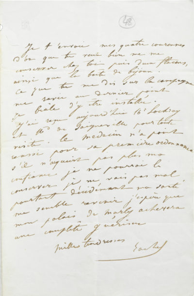 Lettre de Rachel à Alexandre I Walewski - Patrimoine Charles-André COLONNA WALEWSKI, en ligne directe de Napoléon