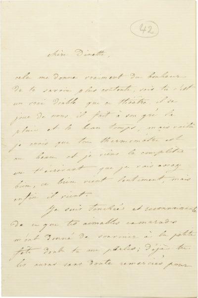 Lettre de Rachel à sa soeur Dinah - Patrimoine Charles-André COLONNA WALEWSKI, en ligne directe de Napoléon