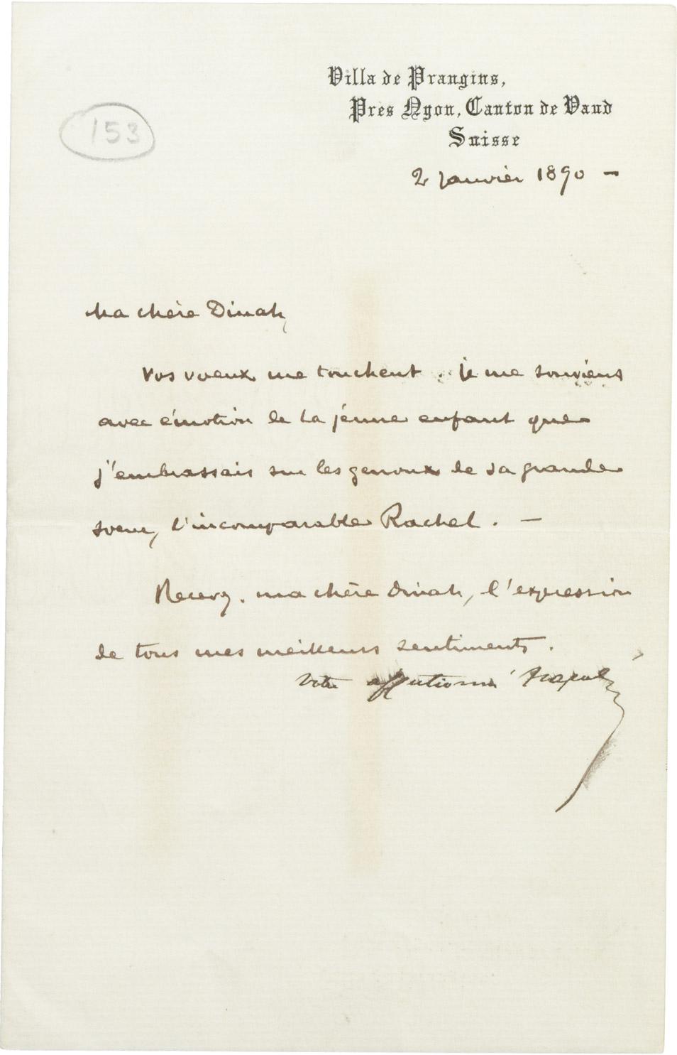 Lettre du Prince Napoléon (Jérôme) à Dinah Félix - Patrimoine Charles-André COLONNA WALEWSKI, en ligne directe de Napoléon