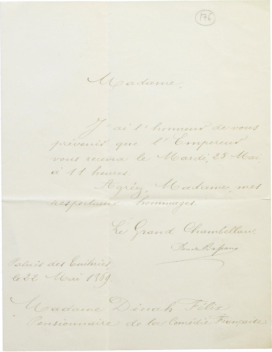 Invitation de Napoléon III à Dinah Félix - Patrimoine Charles-André COLONNA WALEWSKI, en ligne directe de Napoléon