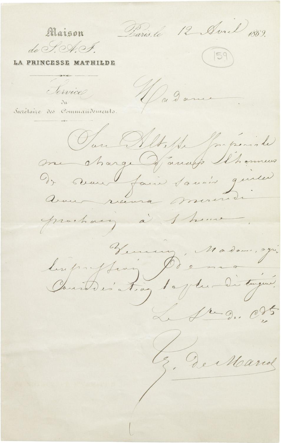 Invitation de la princesse Mathilde à Dinah Félix - Patrimoine Charles-André COLONNA WALEWSKI, en ligne directe de Napoléon