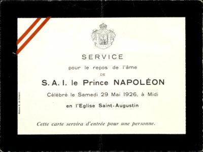Carton de service funéraire du Prince Napoléon - Patrimoine Charles-André COLONNA WALEWSKI, en ligne directe de Napoléon