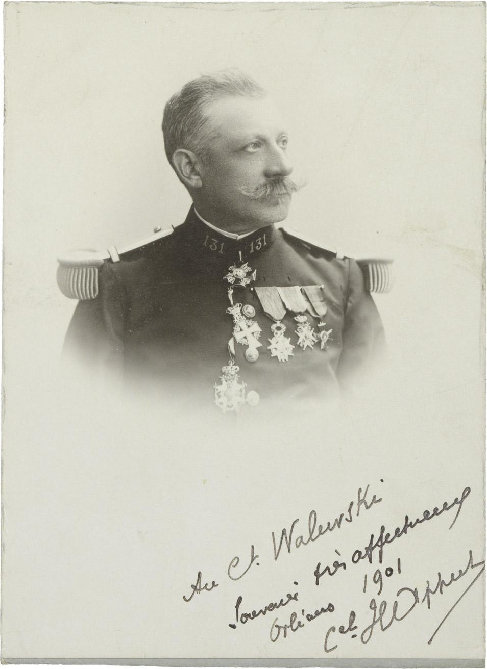 Photographie du colonel Happert dédicacée au comte Walewski - Patrimoine Charles-André COLONNA WALEWSKI, en ligne directe de Napoléon