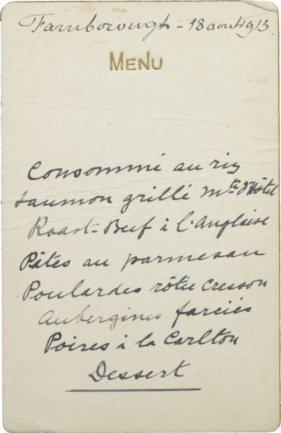 Carton de menu de l'impératrice Eugénie - Patrimoine Charles-André COLONNA WALEWSKI, en ligne directe de Napoléon