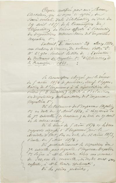 Copie du testament de Napoléon - Patrimoine Charles-André COLONNA WALEWSKI, en ligne directe de Napoléon