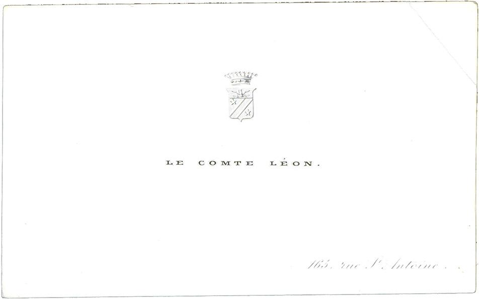 Carte de visite du comte Léon - Patrimoine Charles-André COLONNA WALEWSKI, en ligne directe de Napoléon
