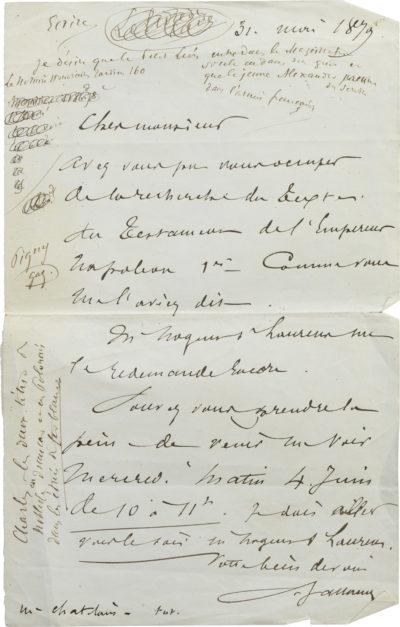 Lettre avec note à Charles Walewski - Patrimoine Charles-André COLONNA WALEWSKI, en ligne directe de Napoléon