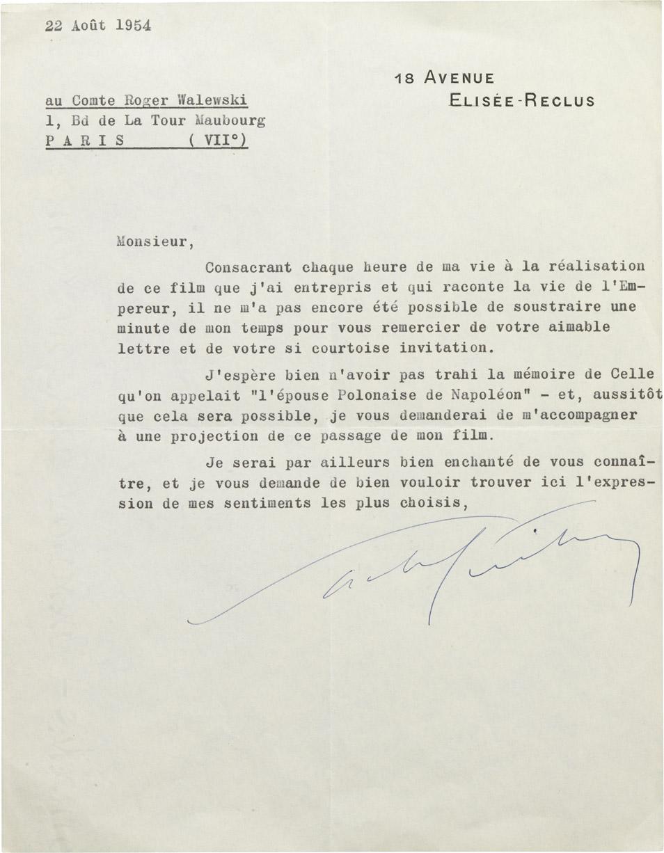 Lettre de Sacha Guitry à Roger Walewski - Patrimoine Charles-André COLONNA WALEWSKI, en ligne directe de Napoléon