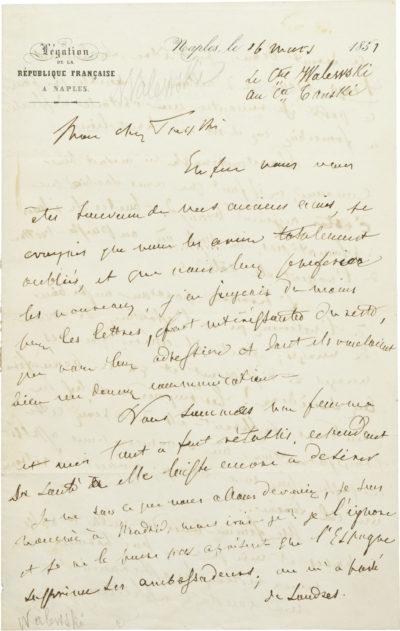 Lettre d'Alexandre Walewski I au comte Tanski - Patrimoine Charles-André COLONNA WALEWSKI, en ligne directe de Napoléon