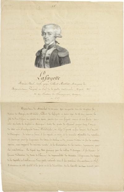 Lettre de Lafayette à Alexandre I Walewski - Patrimoine Charles-André COLONNA WALEWSKI, en ligne directe de Napoléon