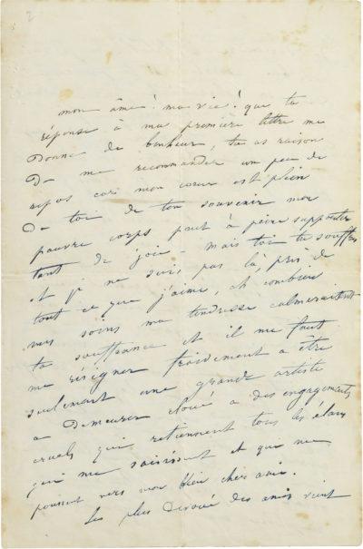 Lettre de Rachel à Oscar Rodrigues - Patrimoine Charles-André COLONNA WALEWSKI, en ligne directe de Napoléon