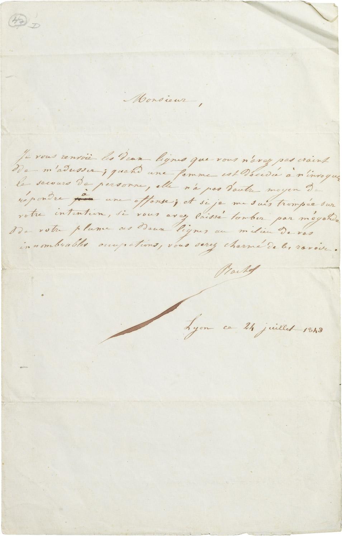 Lettre de Rachel à Alexandre Dumas père - Patrimoine Charles-André COLONNA WALEWSKI, en ligne directe de Napoléon