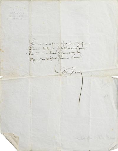 Poème d'Alexandre Dumas père à Rachel - Patrimoine Charles-André COLONNA WALEWSKI, en ligne directe de Napoléon